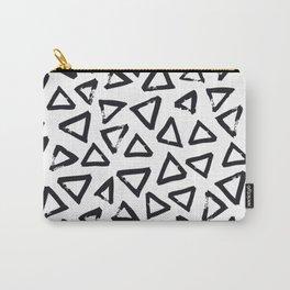 Black Brushstroke Triangel Pattern, Scandinavian Design Carry-All Pouch