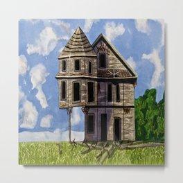 Pioneer mansion old home watercolor  Metal Print