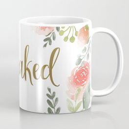 Get Naked, Floral, Coral Pink Roses and Gold Coffee Mug