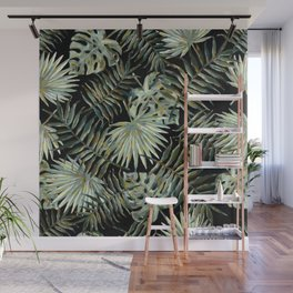 Jungle Dark Tropical Leaves #decor #society6 #pattern #style Wall Mural