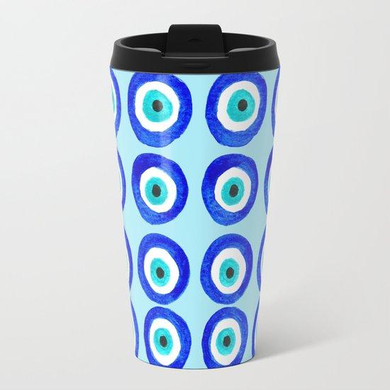 Evil Eye Talisman - on turquoise Travel Mug