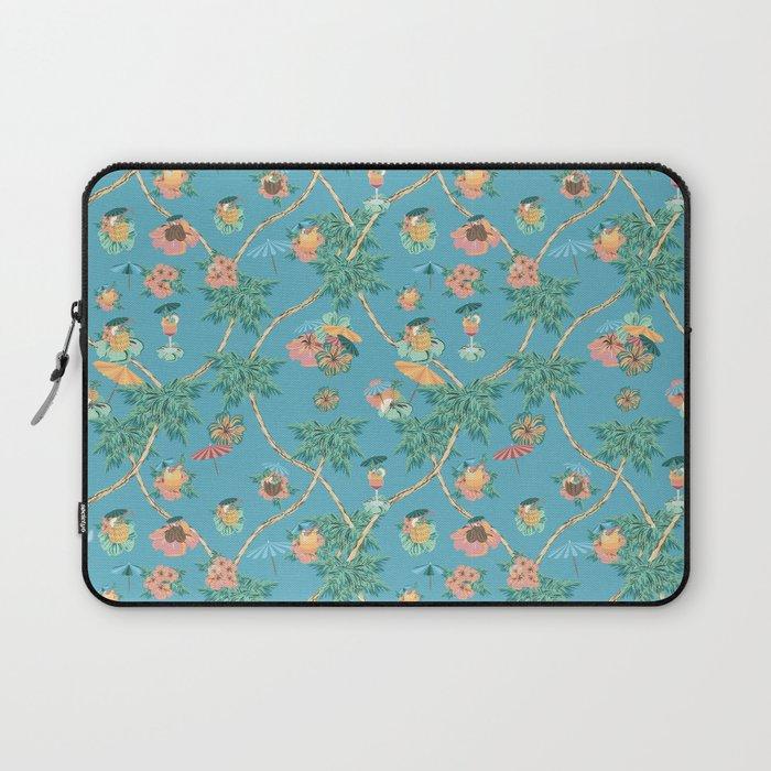 Tropical blue retro cocktail pattern Laptop Sleeve