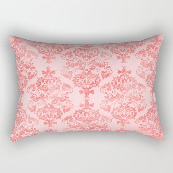 Vintage Retro Damask Watercolor Pattern Pastel Pink Rectangular Pillow