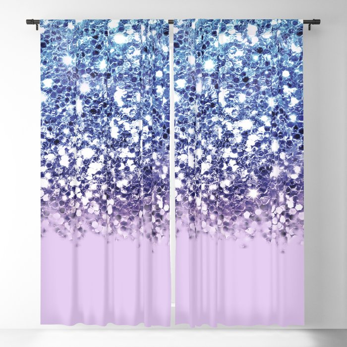 Sparkly Mermaid Blue Purple Lilac Ombre Blackout Curtain
