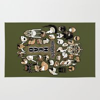 fandom Area & Throw Rugs featuring Helmets of fandom - respect the head! by CaptainLaserBeam
