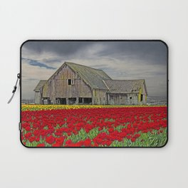 RED TULIPS AND BARN SKAGIT FLATS Laptop Sleeve