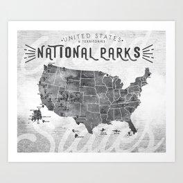 National Parks Map Art Print