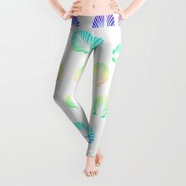 Modern summer mermaid watercolor neon gradient seashells pattern Leggings