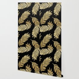 Gold Glitter Palms  |  Black Background Wallpaper