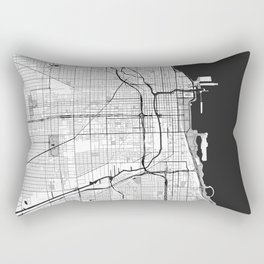 Chicago Map Gray Rectangular Pillow