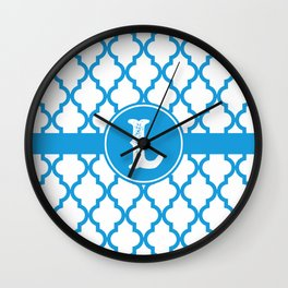 Blue Monogram: Letter L Wall Clock
