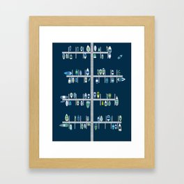Boat Docks in Blue Greens Framed Art Print