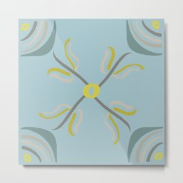 Modern Flowers in Shades of Gray Yellow and Teal Metal Print