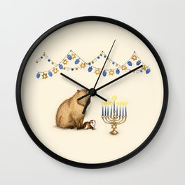 Capy Hanukkah - Capybara and Menorah Wall Clock