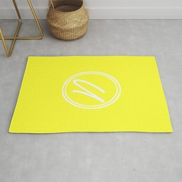 Monogram - Letter U on Electric Yellow Background Rug