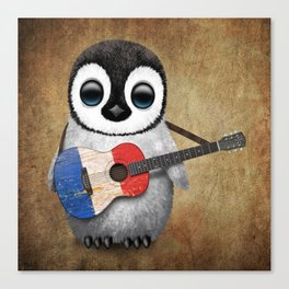 Baby Penguin Playing French Flag Guitar Canvas Print