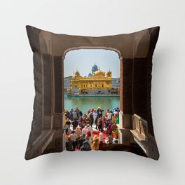 First View of the Golden Temple, India Throw Pillow
