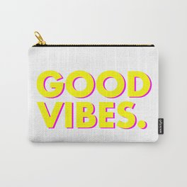 Good Vibes Bright Yellow Pink Carry-All Pouch