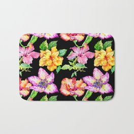 Hand painted tropical lilac pink yellow watercolor floral Bath Mat