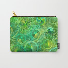 Psychedelic Swirl in Green Carry-All Pouch