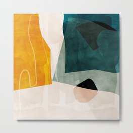mid century shapes abstract painting 3 Metal Print