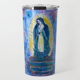 Virgen de guadalupe in blue Travel Mug