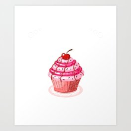 Hilarious Skipping Cupcake Dessert Tee Art Print