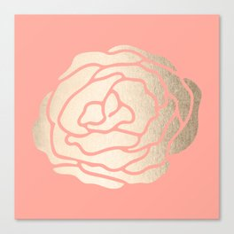 Rose White Gold Sands on Salmon Pink Canvas Print