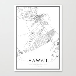 Hawaii City Map United States White and Black Canvas Print
