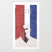 zidane Art Prints featuring Zidane Minimal Portrait by Stefanoreves