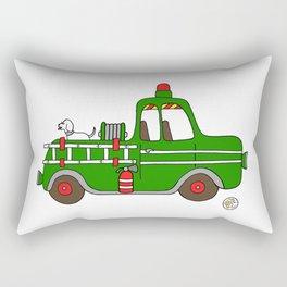 firetruck green vintage fire truck Rectangular Pillow
