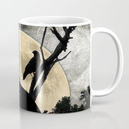 Howling Wolf Crow Moon Animal Black Bird Silhouette Art A388 Coffee Mug
