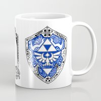 legend of zelda Mugs featuring Zelda legend - Hylian shield by Art & Be