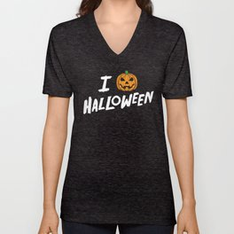 October 31st Fall Autumn Fun I Love Halloween Jack O'Lantern Unisex V-Neck