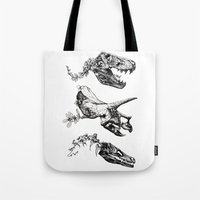 trex Tote Bags featuring Jurassic Bloom. by Sinpiggyhead