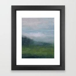 Gray Blue Navy Indigo Grass Green Abstract Painting Wall Art Prints, Nature Horizon, Modern Wall Art Framed Art Print