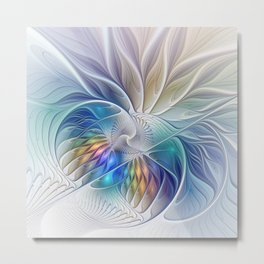 Floral Fantasy, Colorful Fractal Art Metal Print