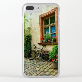 Scene on a German cobblestone alley Clear iPhone Case