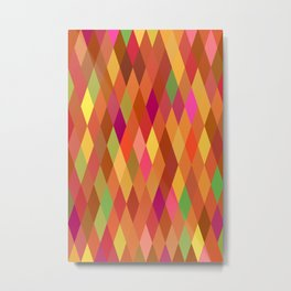 Summer Heat Harlequin Abstract Geometric Metal Print