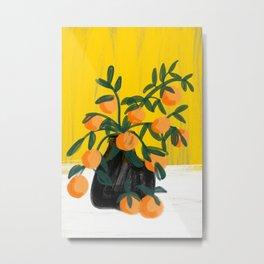 Oranges in Vase No 02 Metal Print