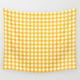 Orange Yellow Checkered Pattern Wall Tapestry