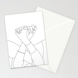 Line drawing illustration of linked fingers - Aisha Stationery Cards