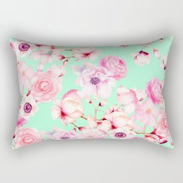Girly Blush Pink Floral Pattern on Mint Green Rectangular Pillow