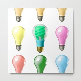 Lightbulbs Of A Differnt Color Metal Print