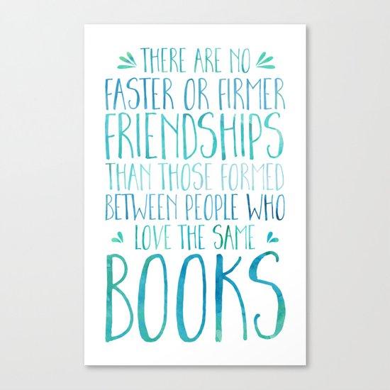 Bookish Friendship - Blue Canvas Print