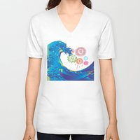 hokusai V-neck T-shirts featuring Hokusai Rainbow & Fireworks  by FACTORIE