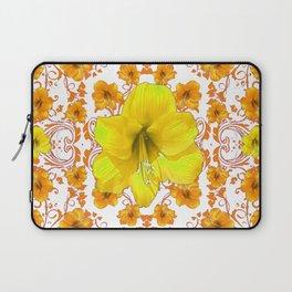 YELLOW & GOLD BOHEMIAN ART FLORAL ON WHITE Laptop Sleeve