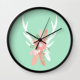 Deer antler florals flower bouquet with antlers minimal boho nursery art decor Wall Clock