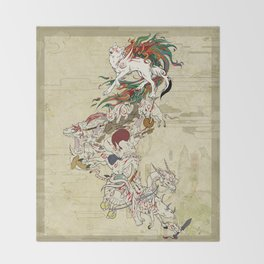 Okami Celestial parade Throw Blanket