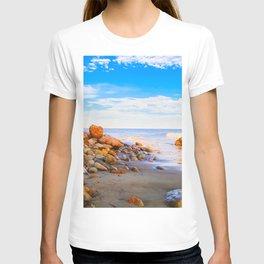 sandy beach with blue cloudy sky in summer T-shirt